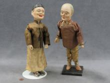 PAIR CHINESE DECORATED MACHE DOLLS, LATE CHING. HEIGHT 13 1/2