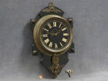 VINTAGE BRASS MOUNTED CARTEL CLOCK. HEIGHT 15