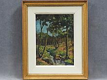 SAMUEL JOHN PEPLOE (SCOTLAND/FRANCE 1871-1935), OIL ON CANVAS BOARD, LANDSCAPE WITH STREAM, SIGNED (2X). 9 1/2 X 7