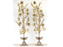 PAIR VICTORIAN GILT METAL FLORAL GARNITURES, 19TH CENTURY. HEIGHT 32