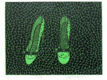YAYOI KUSAMA (JAPANESE/ AMERICAN 1929-), SERIGRAPH, HIGH HEEL SHOES, SIGNE#26/30 1986. SIGHT 13 1/2 X 16 3/4