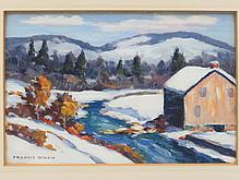 FRANCIS STILLWELL DIXON (AMERICAN NEW YORK/CALIFORNIA 1879-1967) OIL ON ARTIST PANEL, EARLY WINTER LANDSCAPE, SIGNED. SIGHT 4 3/4 X 6 3/4