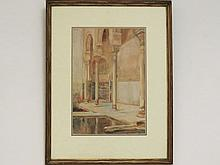 GEORGE OWEN WYNNE APPERLEY (BRITISH 1884-1960) WATERCOLOR ON PAPER, ALHAMBRA INTERIOR (ORIENTALIST INTERIOR), SIGNED AND DATED 1921. SIGHT 13 1/2 X 9 1/2