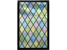 VINTAGE LEADED GLASS WINDOW. 46 X 29