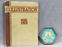 FRANCOIS LOUIS SCHMIED (SWISS 1873-1941), LOT (2) INCLUDING MAGAZINE L'ILUSTRATION 1930 (INCLUDES ARTICLE ON ARTIST) AND TEMPERA ON PAPER, CASTLE, ILLUSTRATION, SIGNED INITIALS. 6 SIDED-DIAMETER 6