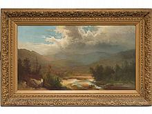 CHARLES A. SOMMER (AMERICAN 1829-1894) OIL ON CANVAS, CATSKILL MOUNTAINS LANDSCAPE, SIGNED. 21 1/4 X 36