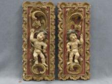 PAIR CONTINENTAL RENAISSANCE STYLE CARVED, POLYCHROME AND GILT PANELS. 20 X 8 1/4