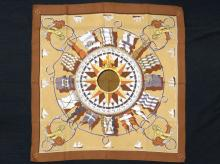 HERMES SILK SCARF DESIGNED BY JACQUES EUDEL, NAUTICAL SCENE,