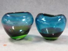 PAIR SCANDINAVIAN ART GLASS VASES. HEIGHT 6 1/2