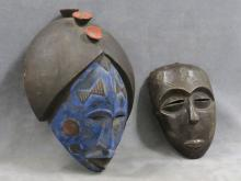 LOT (2) AFRICAN CARVED MASKS INCLUDING GUERE LIBERIA, HEIGHT 14 1/2