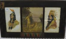 HAMILTON KING (3) FINELY FRAMED NATIVE AMERICAN OFFSET PRINTS IN ORIGINAL FRAME. 14 X 24 1/2