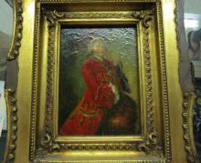 BRITISH SCHOOL (20TH CENTURY), OIL ON CANVAS, SOLDIER WITH RED COAT, SIGNED EVL. 7 X 5