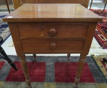 FEDERAL CHERRY DOUBLE DRAWER WORK STAND, 19TH CENTURY. HEIGHT 28