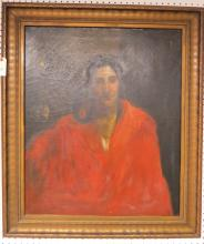 AMERICAN SCHOOL (19/20TH CENTURY), OIL ON CANVAS, NATIVE AMERICAN WOMAN WITH RED CLOAK. 30 X 25