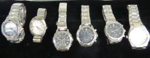 LOT (6) ASSORTED STAINLESS WRISTWATCHES INCLUDING WENGER/SWISS MILITARY, SEIKO KINETIC AND CHRONOGRAPH, IWC (REPLICA)