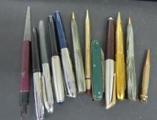 LOT ASSORTED FOUNTAIN PINS AND MECHANICAL PENCILS INCLUDING WATERMANS, EBERHARD, ESTER BROOK