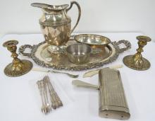 LOT ASSORTED SILVER PLATE AND PEWTER INCLUDING TRAY, WATER PITCHER, CANDLESTICKS AND PORRINGER