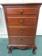 CHIPPENDALE STYLE CARVED MAHOGANY 4 DRAWER CHEST WITH BALL AND CLAW FEET. HEIGHT 30