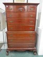 CHIPPENDALE STYLE CARVED MAHOGANY CHEST ON CHEST