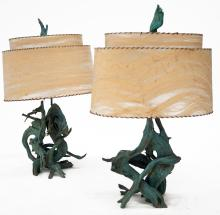 PAIR VINTAGE PAINTED DRIFTWOOD TABLE LAMPS WITH WHIP-STITCH SHADES. TOTAL HEIGHT 42