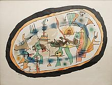 JOAN MIRO (SPANISH 1893-1983) LITHOGRAPH ON ARCHES PAPER, SIGNED AND NUMBERED #73/300. SIGHT 18 1/2 X 24 1/2