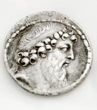 SELEUKID KINGDOM, DEMETRIOS II, 2ND REIGN (129-125 BC) AR TETRADRACHM COIN, 30MM (VF)