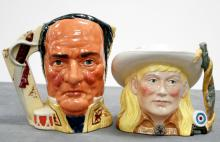 LOT (2) ROYAL DOULTON DECORATED PORCELAIN JUGS INCLUDING THE ALAMO D6729, #4696/9500, 1984. HEIGHT 7 3/4