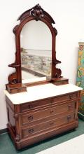 VICTORIAN CARVED WALNUT MARBLE-TOP DRESSER WITH MIRROR, SIGNED