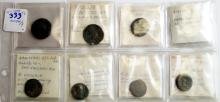 LOT (8) ANCIENT ROMAN/BYZANTINE BRONZE COINS INCLUDING TRAJAN, DIOCLETIAN, PROBUS, C.200-400 AD