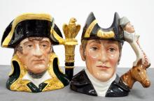 LOT (2) ROYAL DOULTON DECORATED PORCELAIN LARGE CHARACTER JUGS INCLUDING NAPOLEON D6941 #18/2000, 1993. HEIGHT 7
