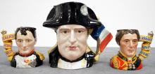 LOT (3) ROYAL DOULTON DECORATED PORCELAIN JUGS INCLUDING NAPOLEON AND JOSEPHINE D6750, #1090/9500, 1985. HEIGHT 7
