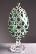 FABERGE BOHEMIAN CRYSTAL EGG-FORM CONTAINER, SIGNED. HEIGHT 14 1/2