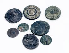 LOT (8) ROMAN/BYZANTINE BRONZE COINS INCLUDING CONSTANTINE III (317-325) AND CONSTANTINE COMMEMORATIVE (330-337)