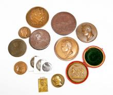 LOT (18) ASSORTED NAPOLEONIC BRONZE/METAL COMMEMORATIVE MEDALS, 19/20TH CENTURY