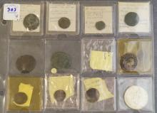 LOT (12) ANCIENT ROMAN/BYZANTINE AND LATER BRONZE COINS INCLUDING $1 CANADIAN SILVER-1966