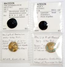 LOT (4) KINGDOM OF MACEDON BRONZE COINS INCLUDING (2) PHILIP II (359-336 BC) AE 18, .7-18MM (F); ANONYMOUS INTERREGNUM (288-277 BC) AE 17, 17MM (VF); PHILIP V (220-179 BC) AE 14, 15MM (F)