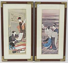 JAPANESE SCHOOL (20TH CENTURY), LOT (2) OFFSET LITHOGRAPHS, GEISHA. FRAMED AND GLAZED-32 X 17