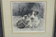 AMERICAN SCHOOL (EARLY 20TH CENTURY) ETCHING, JACK RUSSELL AND KITTEN, SIGNED ILLEGIBLY. PLATE 10 3/4 X 11 1/4