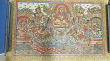 BALINESE INK AND WATERCOLOR ON CANVAS, DEITIES WITH ATTENDANTS. 15 1/2 X 23 1/2