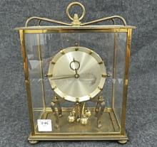 KUNDO BRASS ANNIVERSARY CLOCK, C.1960. HEIGHT 10 1/2