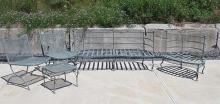 LOT (4) PATIO FURNITURE INCLUDING SET (2) SETTEE AND SIDE CHAIR AND MESH SIDE TABLE AND CHAIR