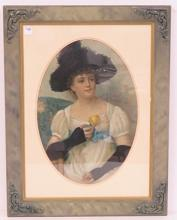 ADVERTISING CHROMOLITHOGRAPH, YOUNG WOMAN WITH FLOWER. FRAMED AND GLAZED 27 X 20
