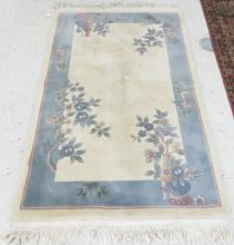 CHINESE SCULPTED SILK HAND WOVEN RUG, 20TH CENTURY. 3'9