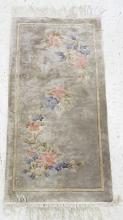 CHINESE SCULPTED SILK HAND WOVEN RUG. 2 X 4'