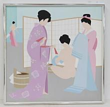 JAPANESE SCHOOL (20TH CENTURY), OIL ON CANVAS, GEISHA BATHING, SIGNED AND MONOGRAMMED. 24 X 24