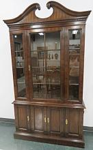 2/PIECE DREXEL HUTCH WITH GLASS SHELVES. HEIGHT 82