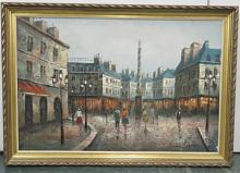 HENRI ROGERS (FRENCH 20TH CENTURY), OIL ON CANVAS, PARIS STREET SCENE, SIGNED. 24 X 36