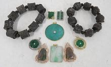 LOT (10) ASSORTED COSTUME, FAUX JADE AND COMPOSITION JEWELRY