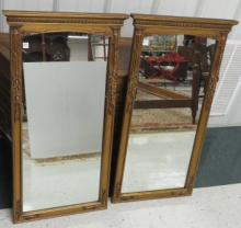 PAIR FRENCH STYLE GILT FRAMED MIRRORS. HEIGHT 45