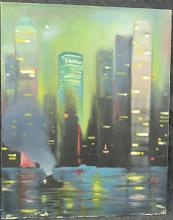 AMERICAN SCHOOL (20TH CENTURY), OIL ON CANVAS, NY SKYLINE, SIGNED ILLEGIBLY. 30 X 24